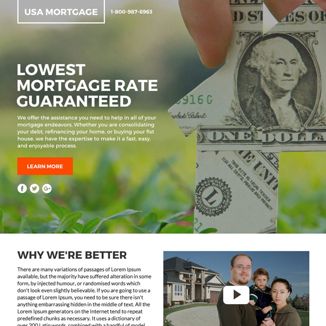 lowest mortgage rates lead funnel responsive landing page design Mortgage example