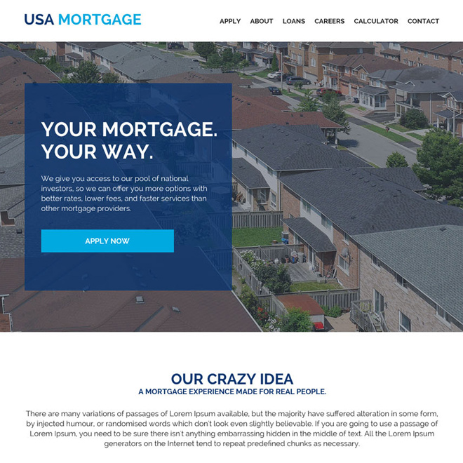 mortgage business pay per click responsive website design Mortgage example