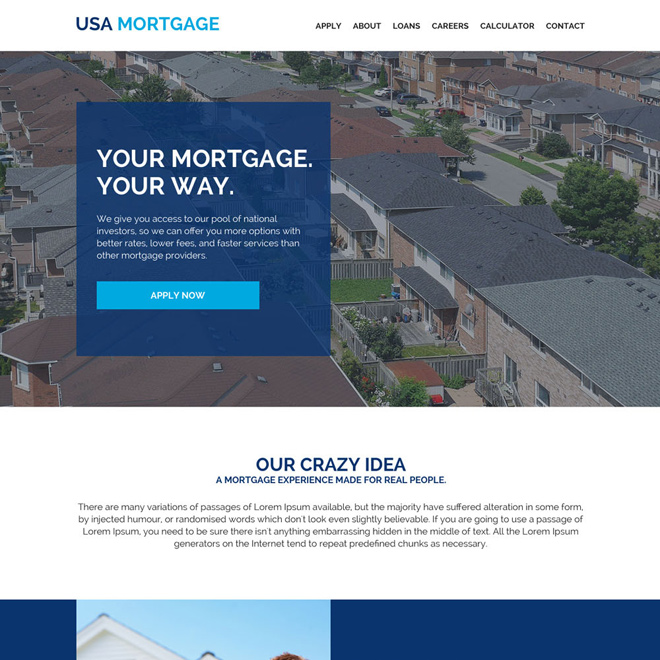 mortgage refinance company website design Mortgage example