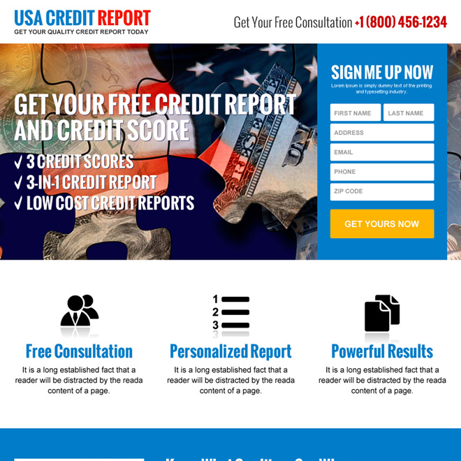 usa sign up credit report lead generating landing page design Credit Report example