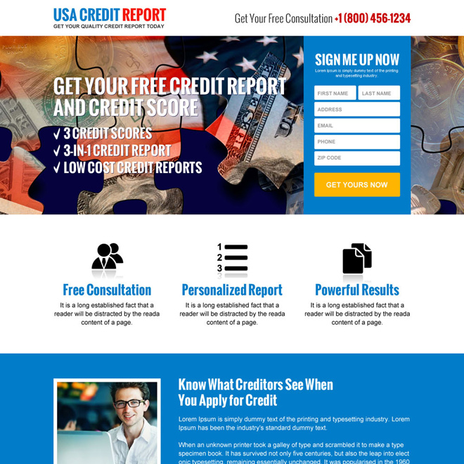 responsive quality credit report sign up capturing landing page Credit Report example