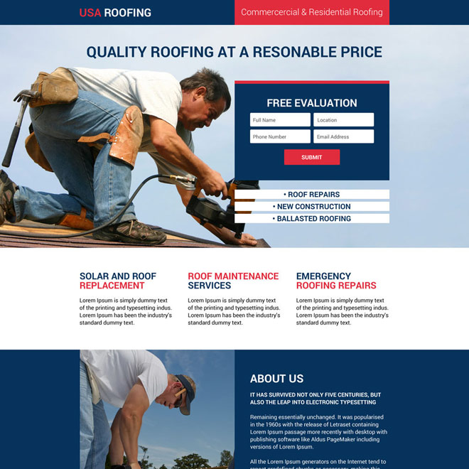 responsive usa roofing and construction landing page design Roofing example