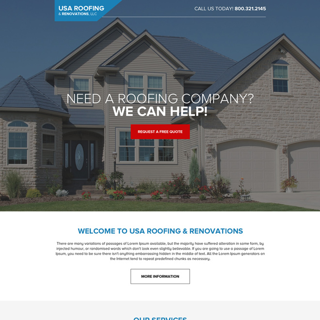 USA roofing and renovations modern long landing page design Roofing example