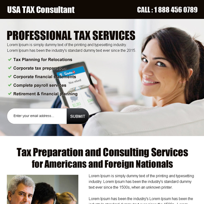 usa tax consultant lead gen ppv landing page design template Tax example