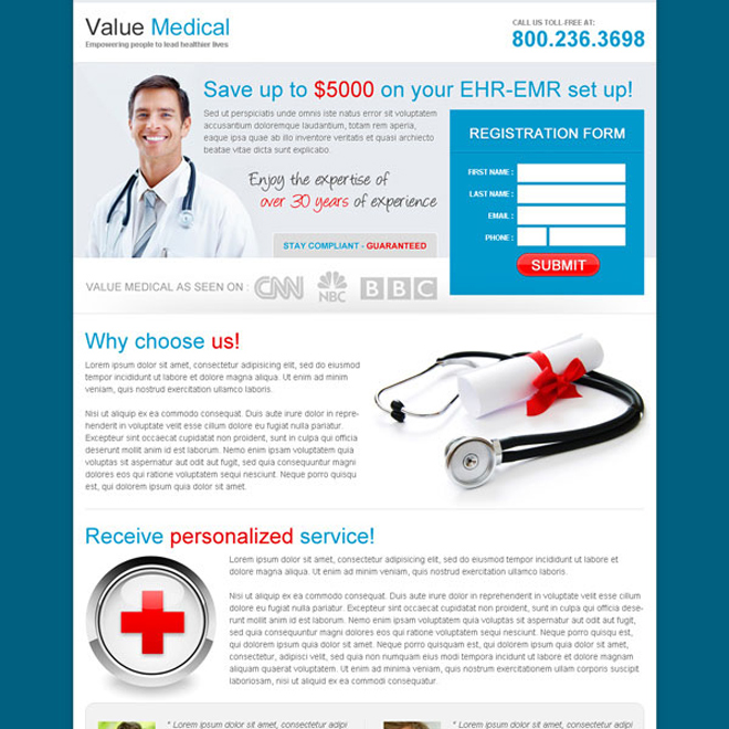 Landing Page Design Templates For Medical Store Product Page - Medical landing page template