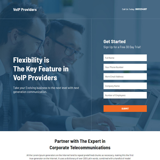 VoIP provider lead capture responsive landing page design Business example