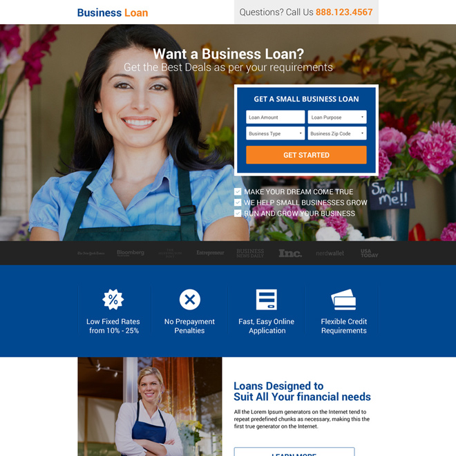 business finance small lead form landing page Business Loan example