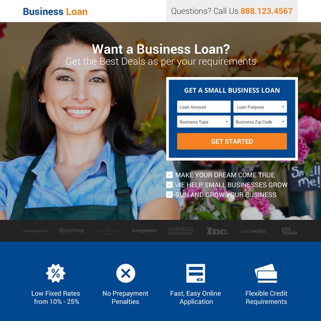 small business loan lead generating responsive landing page Business Loan example