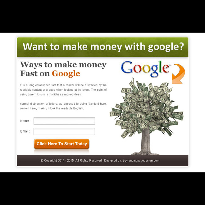 make money fast with google lead capture effective ppv landing page design template Google Money example