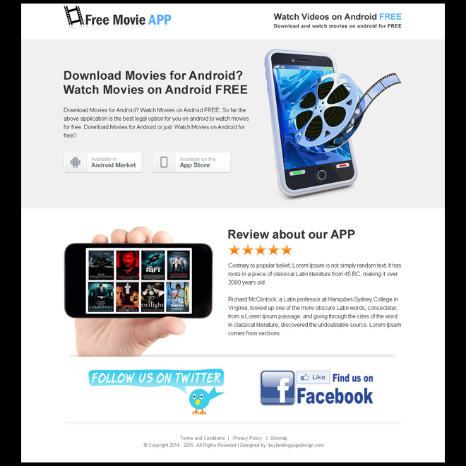 free movie application for android free download clean landing page App Landing Page example