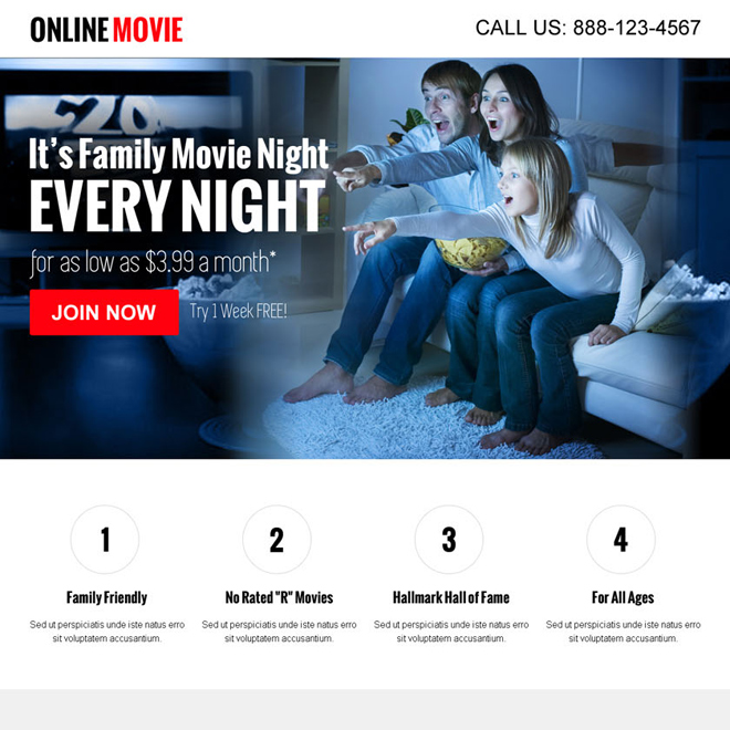 watch movies online call to action converting landing page design Miscellaneous example