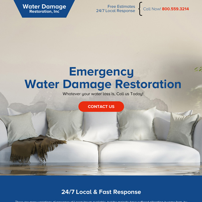 water damage restoration best call to action modern landing page Damage Restoration example