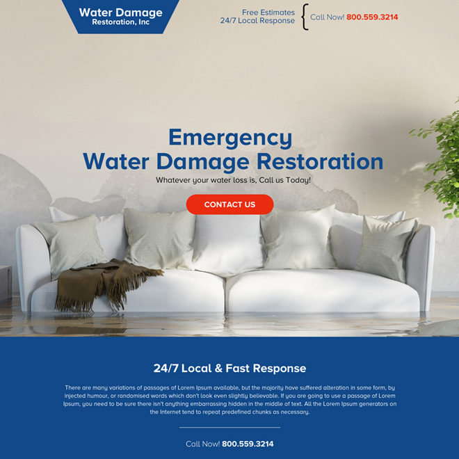 water damage restoration service responsive landing page Damage Restoration example