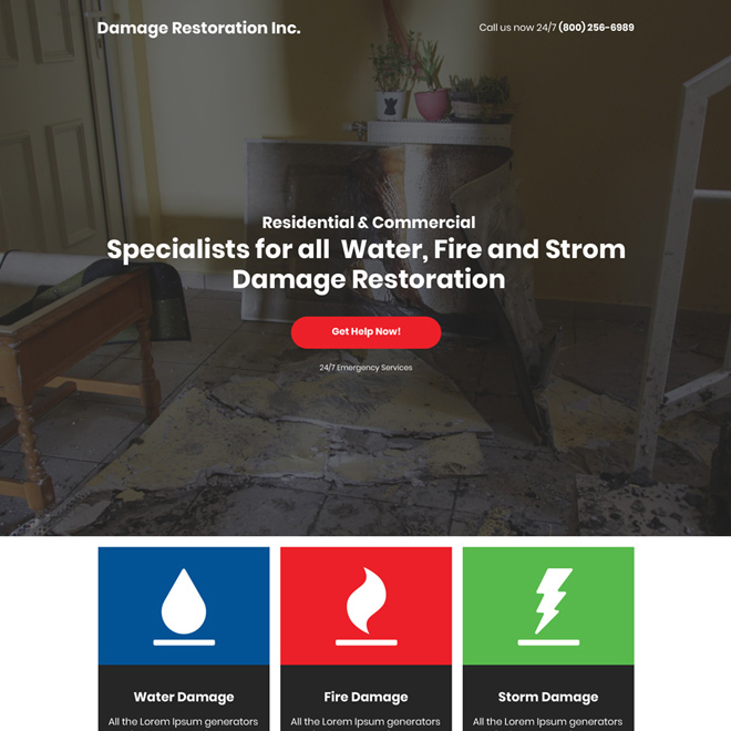 water fire storm damage restoration responsive landing page Damage Restoration example