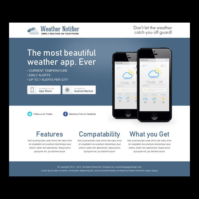 beautiful and clean weather notifier application page App Landing Page example
