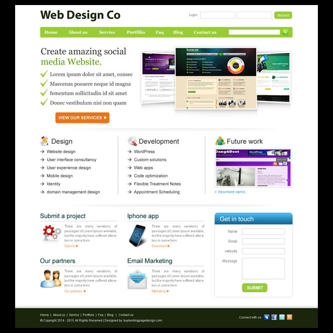 clean and professional web design company website template design psd Website Template PSD example