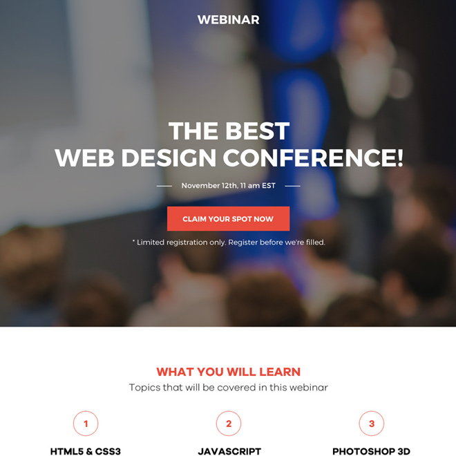 web design conference webinar responsive landing page Webinar example