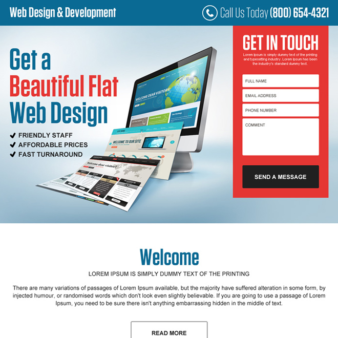web design and development returning lead gen landing page Web Design and Development example
