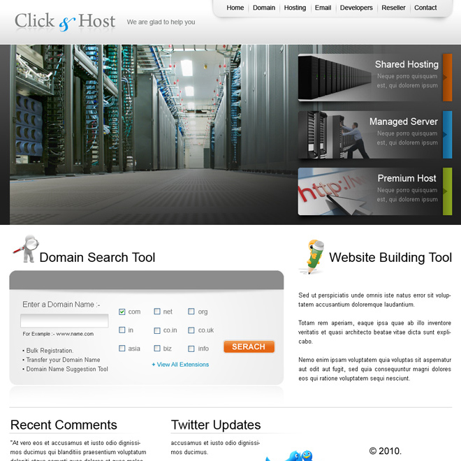 web hosting and domain selling website template design psd for sale Website Template PSD example
