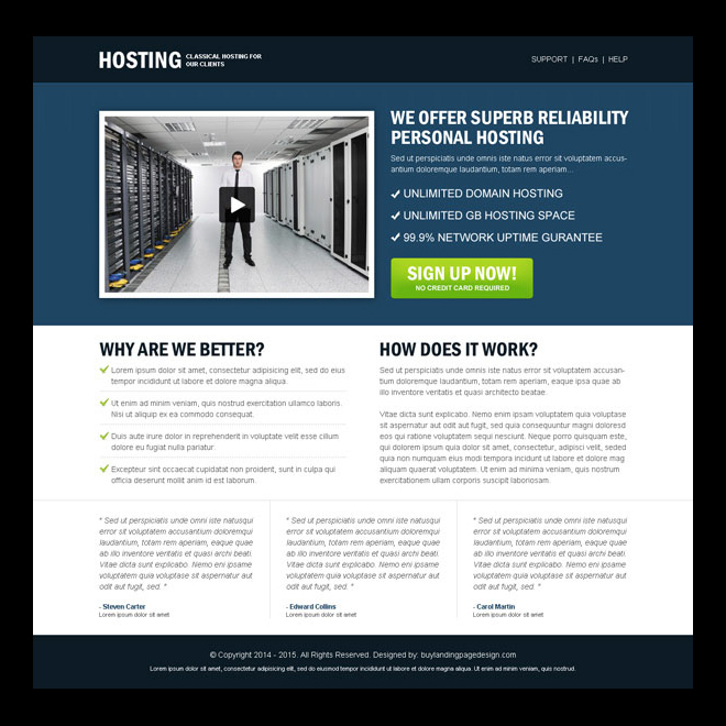 reliability personal hosting call to action clean and user friendly landing page design Web Hosting example