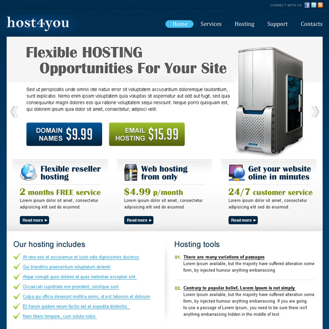 web hosting business website template design psd for sale Website Template PSD example