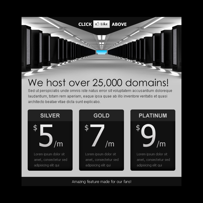 converting web hosting html facebook fan page design PPV Landing Page example