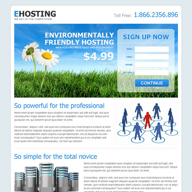 effective landing page design for web hosting Web Hosting example