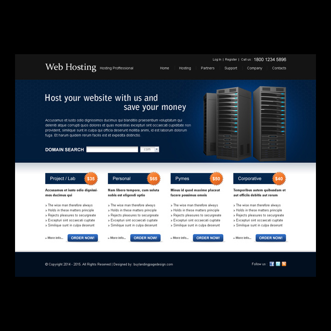 host your website and save your money effective website template design psd Website Template PSD example