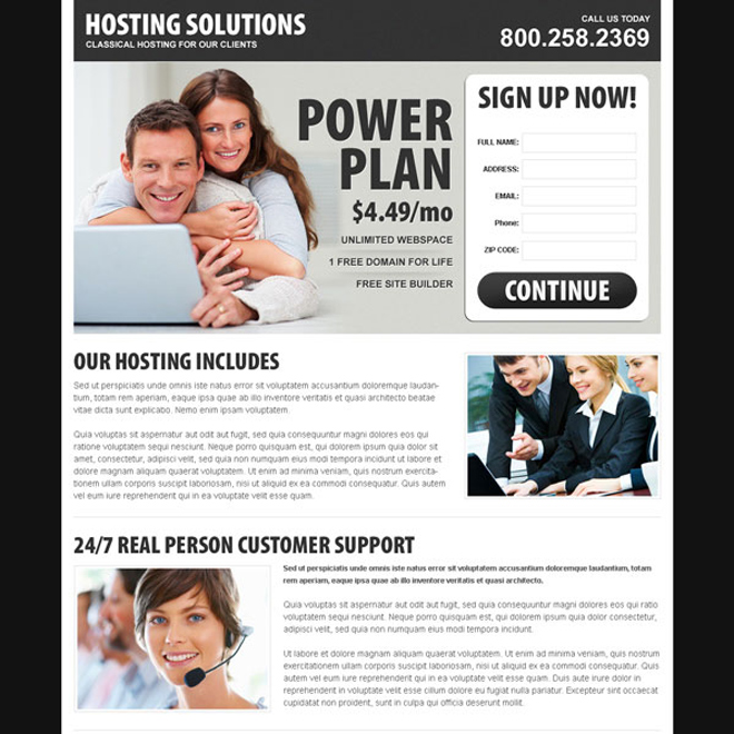 hosting solutions simple and effective lead capture lander design Web Hosting example