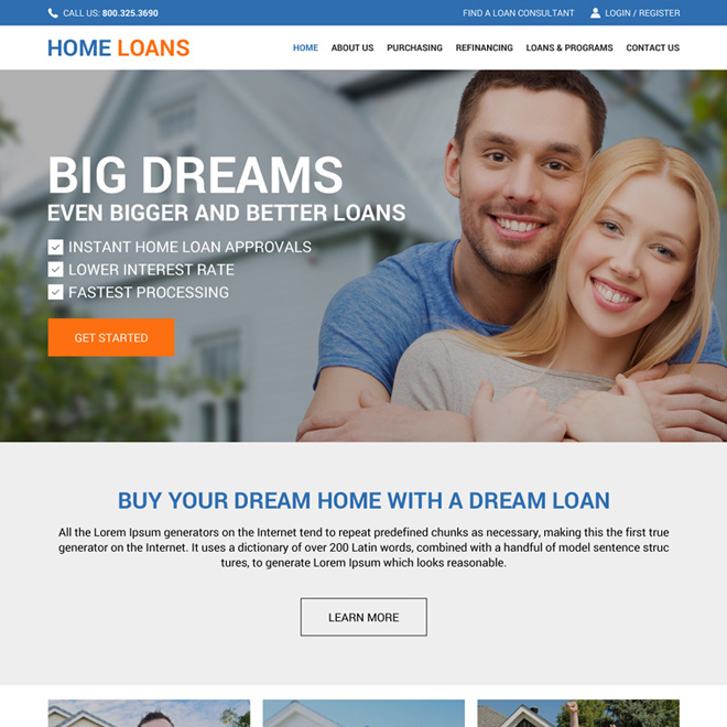 home loan service online application website design template Home Loan example