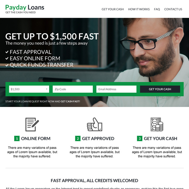 online payday loan best converting website design Payday Loan example