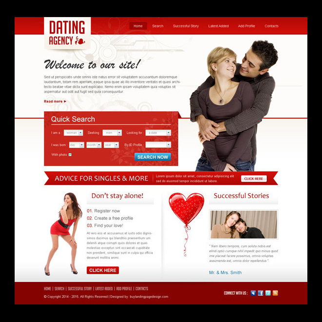 clean and creative dating agency website template design psd Website Template PSD example