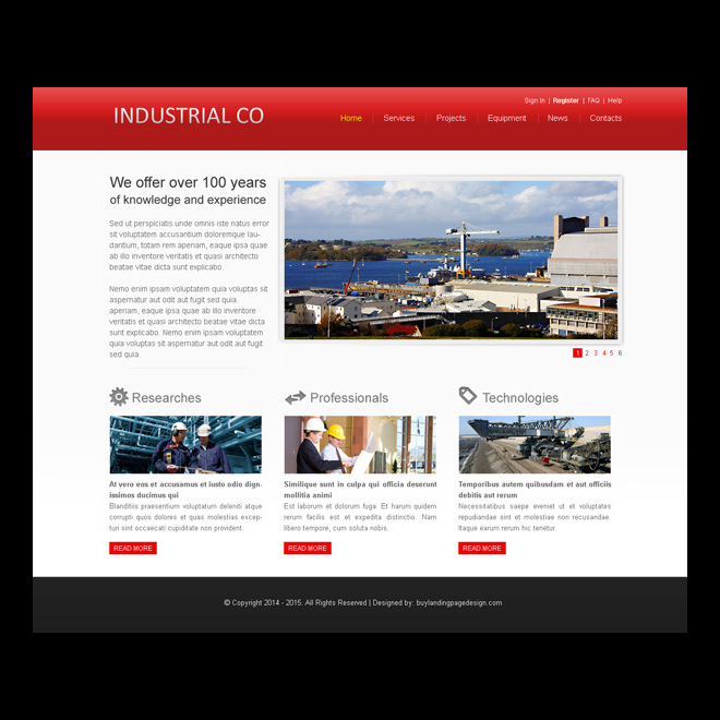 clean and appealing website template psd for industrial company website Website Template PSD example