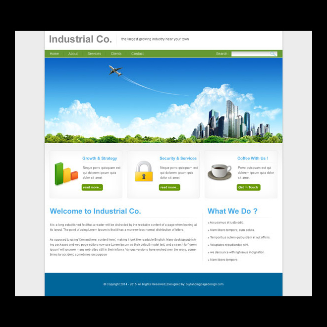 clean and professional website template psd for industry website Website Template PSD example