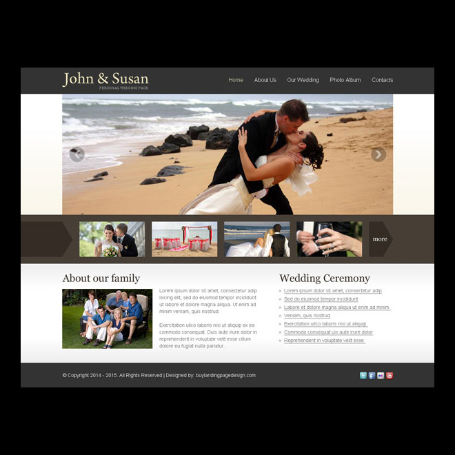 simple and effective website template for your weeding website Website Template PSD example