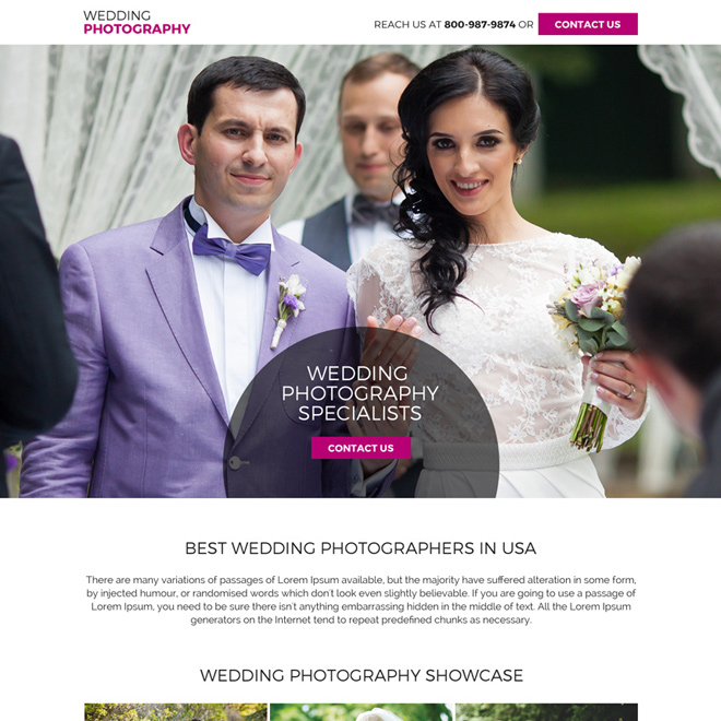 wedding photography mini landing page design Photography example