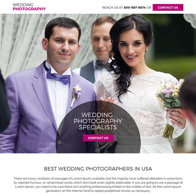 wedding photography responsive landing page design Photography example