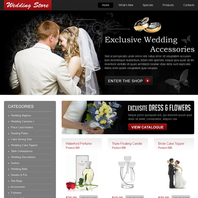 exclusive wedding accessories online store website template design psd Website Template PSD example