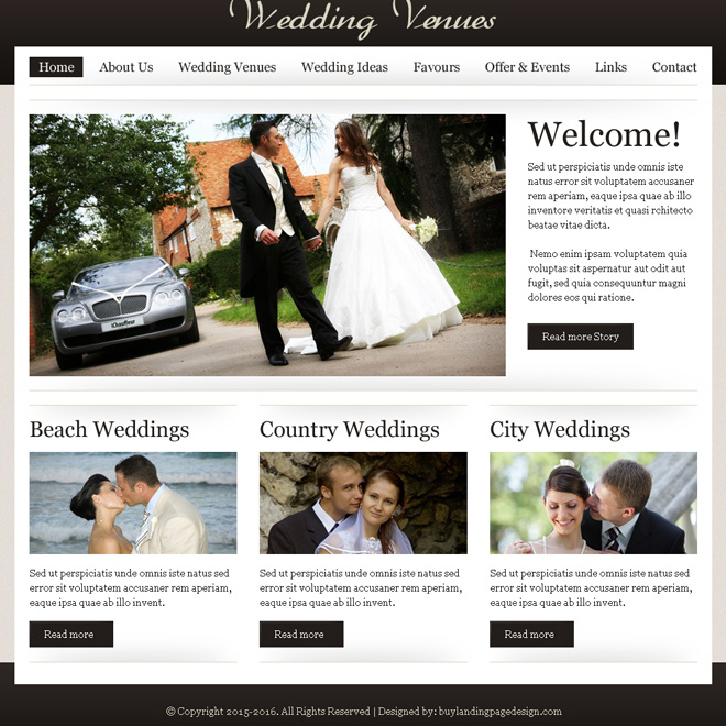 wedding venues website template design psd for sale Website Template PSD example