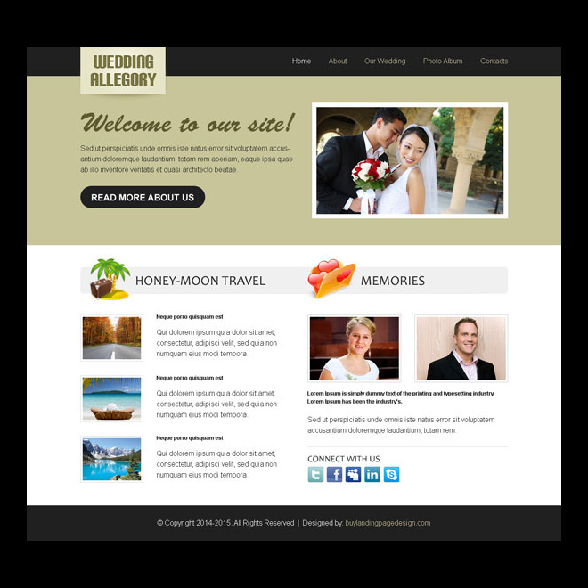 wedding clean and converting website template design psd Website Template PSD example