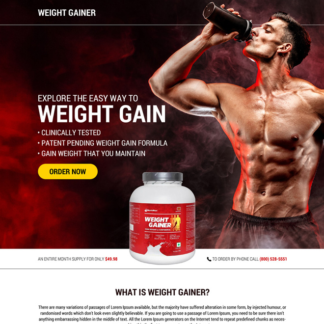weight gain product selling responsive landing page Weight Gain example