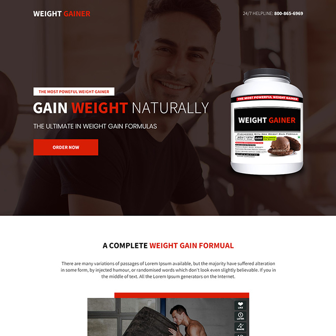 weight gain product selling responsive landing page design Weight Gain example
