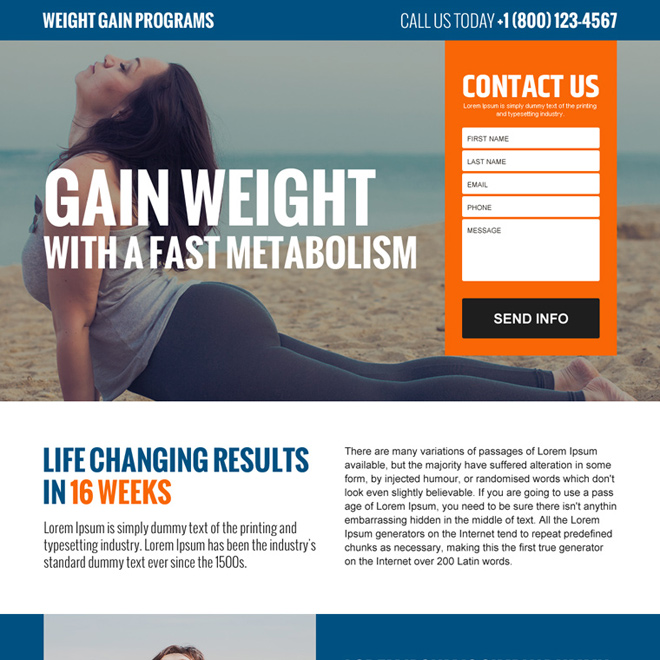 weight gain program lead generating landing page design Weight Gain example