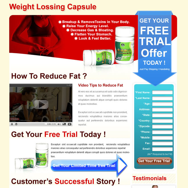 weight losing capsule clean and converting long lead capture landing page for sale Weight Loss example