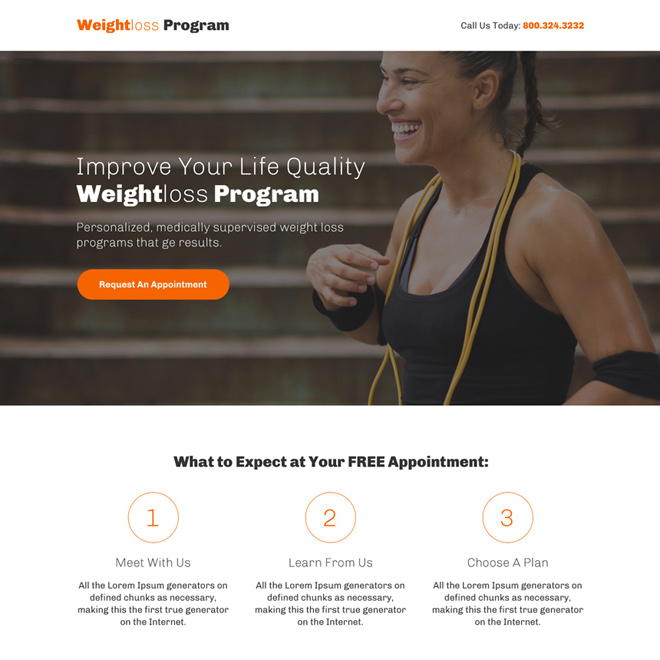 minimal weight loss program responsive call to action landing page Weight Loss example