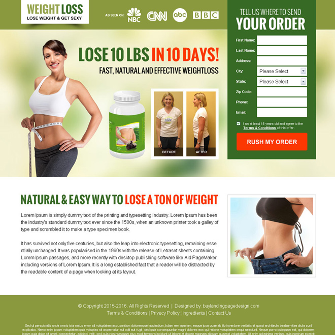 weight loss lead capture bank page design Weight Loss example
