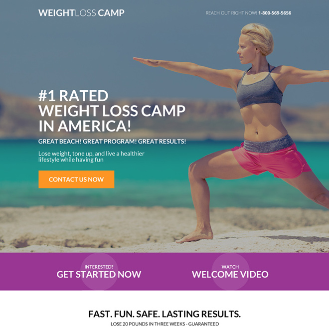 weight loss camp responsive landing page design Weight Loss example
