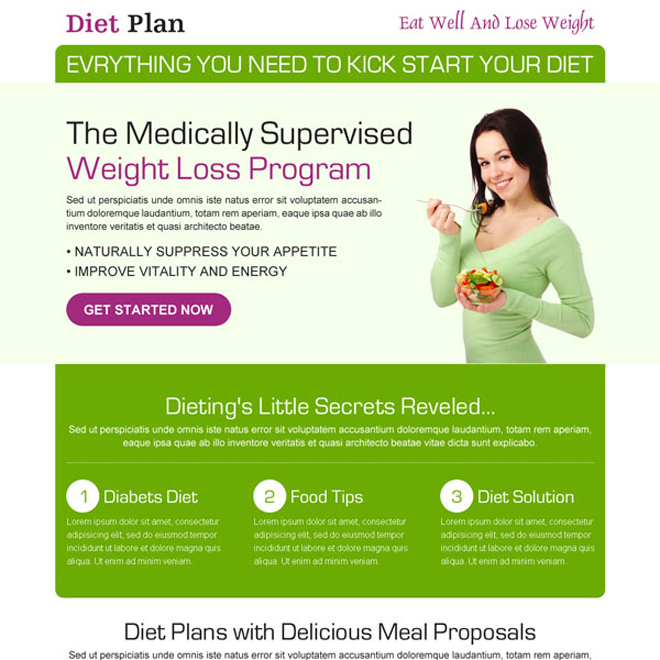 diet plan weight loss responsive landing page design Weight Loss example