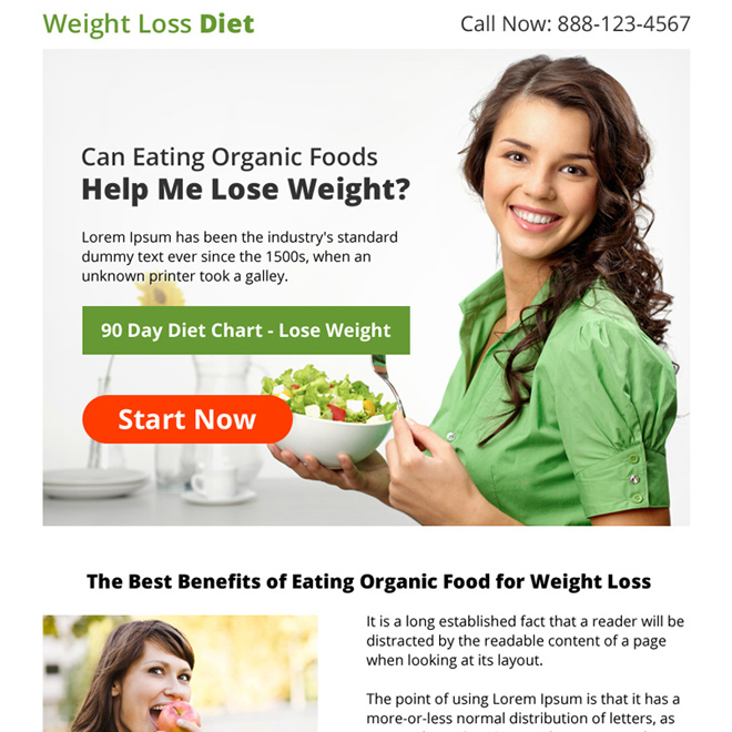 weight loss diet lead capturing strong ppv landing page Weight Loss example