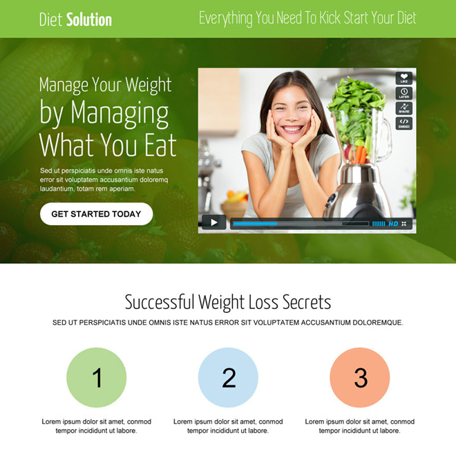 weight loss diet solution video call to action converting landing page Weight Loss example